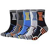 KONY Men's Trekking Hiking Socks, Cotton Moisture Wicking Thick Cushioned Outdoor Crew Socks, Mid Calf, All Season Gift (Mix-3, Medium(Shoe Size 8-12))
