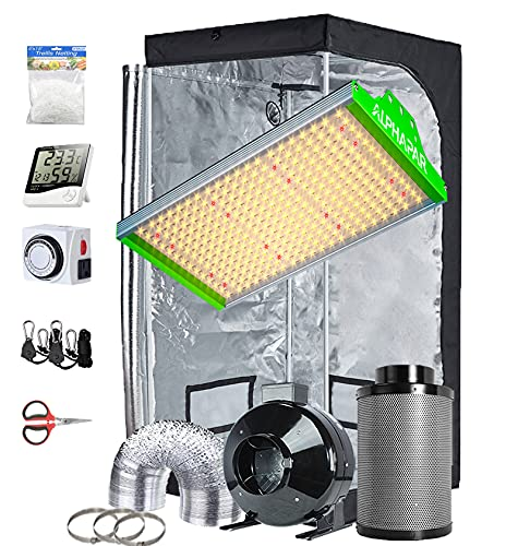 TopoGrow Hydroponic Growing Tents Kit Complete AlphaPar AQ300 LED Grow Light Lamp Full-Spectrum, 32'X32'X63'Indoor Grow Tent, 4' Ventilation Kit with Accessories for Plant Growing