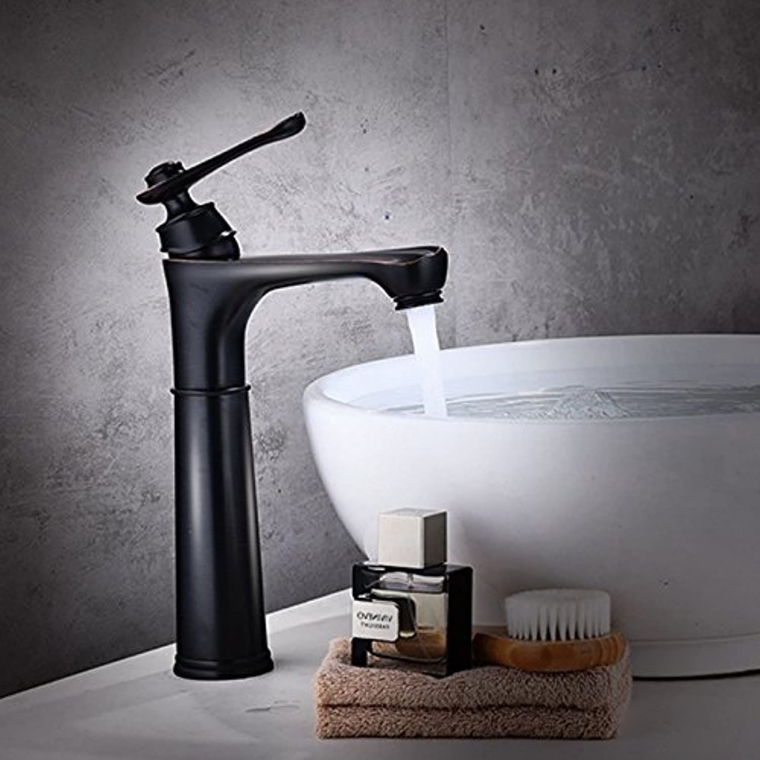 MIAORUI Black basin mixing tap simple fashion washbasin, basin, basin, faucet bathroom, all copper single hole cold and hot faucet,高款
