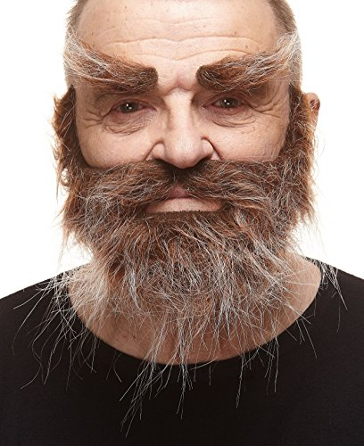 Mustaches Self Adhesive, Novelty, Realistic, Traper Fake Beard Fake and Fake Eyebrows, Brown with Gray Color
