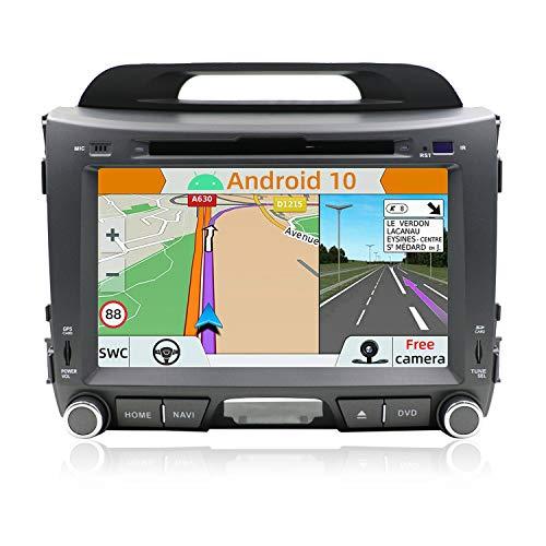 YUNTX Android 10 Car Radio de navegación GPS para Kia Sportage (2010-2015) | 2 DIN | Cámara Trasera Gratis| 8 Pulgada| 2GB/32GB| DVD| Dab+ Soporte| USB| WLAN| Bluetooth| MirrorLink| mandos de