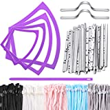 4 Different Size Face Protector Plastic Sewing Templates Reusable Sewing Covering Template with 100 Pieces Elastic Stretchy Cord Band Adjustable Buckle Rope and 50 Nose Bridge Strip for DIY Craft Set