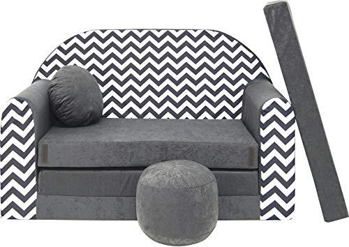 BDW Sofá cama infantil con puff/cojín, de algodón, 168 x 98 x 60 cm, mueble para habitación infantil (38)