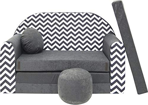 BDW Sofá cama infantil con puff/cojín, de algodón, 168 x 98 x...