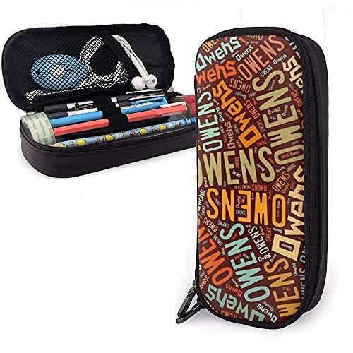 Owens American Nachname Hohe Kapazität Leder Federmäppchen Bleistift Stifthalter Große Aufbewahrungstasche Box Organizer Schule Make-up Stift Student Tasche