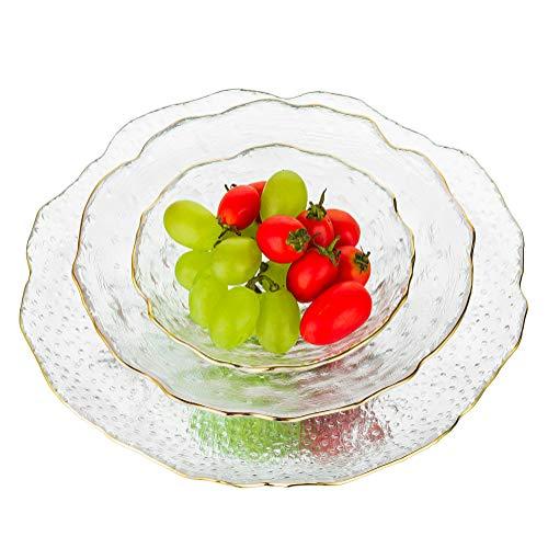 Glas Servierteller Set Mit 3 Durchsichtigen Stapelbaren Salatschüsseln Trifle Bowl Für Suppenfrucht Dessert Pasta Curry Popcorn Müsli Zum Mischen Von Dining Party Catering