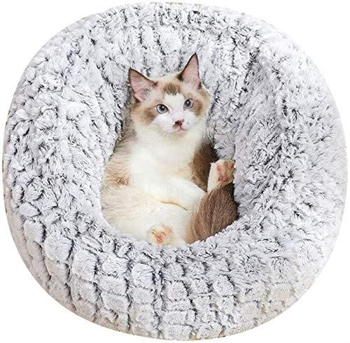 IUYJVR Cama para Mascotas Cama Redonda para Mascotas, Cama para Mascotas Donut Cuddler, Súper Suave y cálida Cama de Felpa para Gatos de Invierno Nido para rosquillas Suave Felpa Cómoda para Dormir