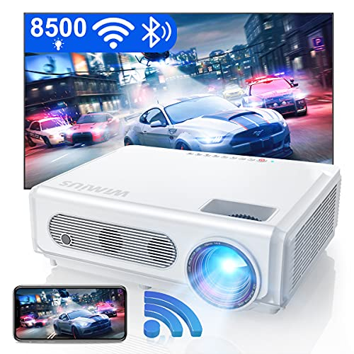 WiMiUS S6 Native 1080P WiFi Bluetooth Projector, 8500L HD Home & Outdoor Wireless Phone Projector Support 4K / Max Zoom 50% / Keystone, Led Movie Projector for Fire Stick, HDMI, USB,TV Box, Laptop