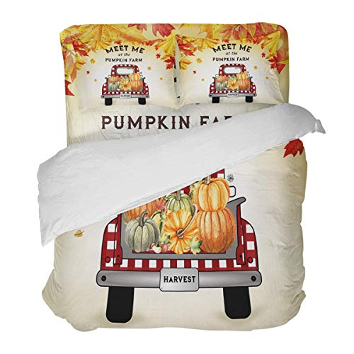 SUPERQIAO Red Grid Car and Autumn Pumpkins Harvest Thanksgiving Day 3 Pieces Duvet Cover Set with Decorative 2 Pillow Shams Bedspread Bed Sheets
