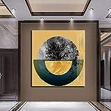 KWzEQ Cartel de semicírculo geométrico Dorado Pintura Lienzo póster e Impresiones Sala de Estar decoración del hogar,Pintura sin Marco,60x60cm