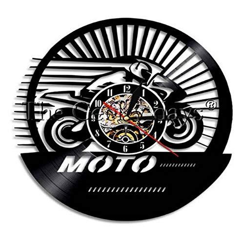 LKJHGU Modelo de Reloj de Pared de Vinilo de suspensión de Disco de fonógrafo de Motocicleta
