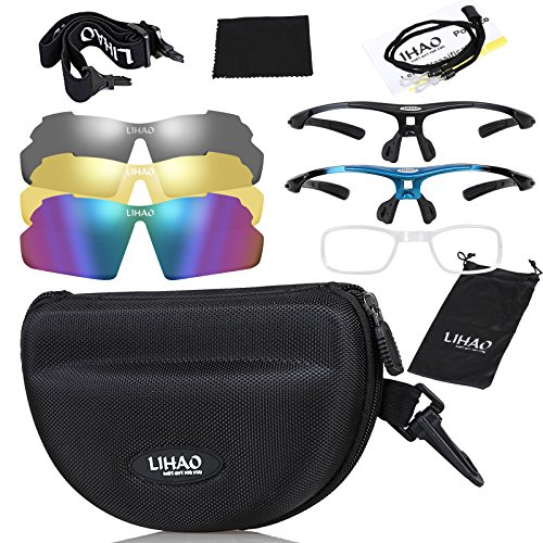 LIHAO Sport Occhiali Polarizzati da Sole per Ciclismo, Moto, Bici, Arrampicata ECC (3 Lenti Intercambiabili)
