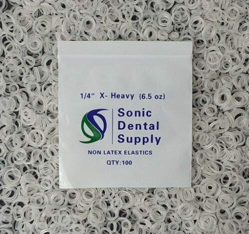 "Sonic Dental - Clear 1/4"" 6.5 oz - Orthodontic Elastic - Braces - Dental Rubber Bands - USA"