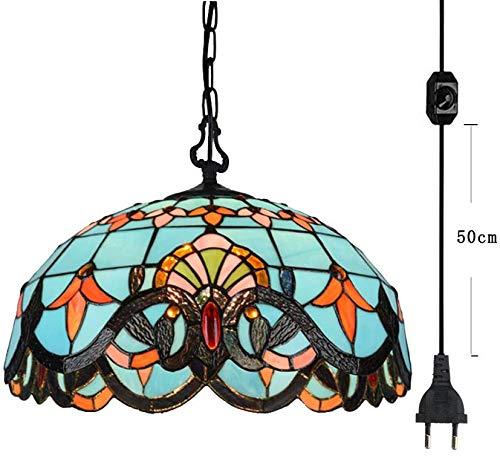 FSLIVING Tiffany Style - Lámpara de techo con pantalla de cristal de colores y cable regulador de encendido/apagado con certificado CE para loft, bombillas no incluidas
