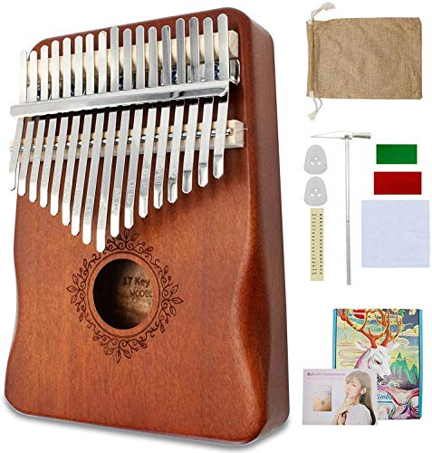 Kalimba 17 Keys Thumb Piano with Study Instruction and Tune Hammer, Portable Mbira Sanza African Wood Finger Piano, Gift for Kids Adult Beginners Professionals