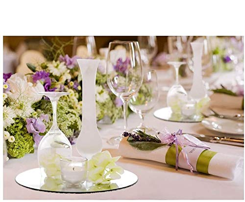 10-inch Wedding Centerpieces for Tables Mirror Trays, Mirror Wall Decoration, Round Mirror Charger Plate and Candle Tray, 12 Packs, 2mm Thickness, Rounded Edge