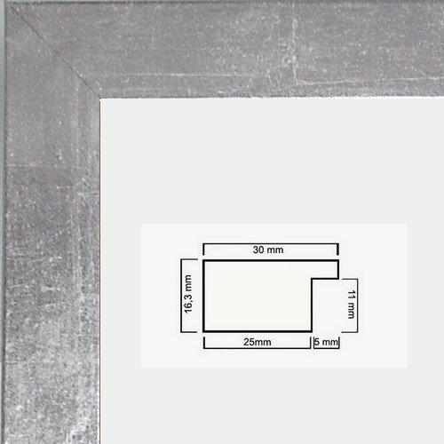 Monika Holzwerkstoff Bilderrahmen schlicht elegant 40 x 50 cm Farbe und Verglasung wählbar 50x40 cm, Hier Silberglanz Vintage mit Kunststoffglas Antireflex 1mm