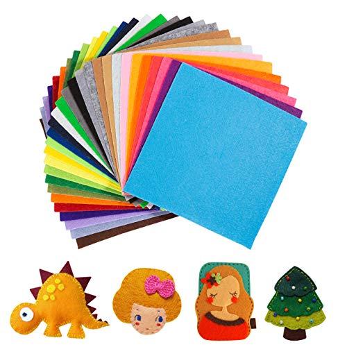 Naler 30 Hojas de Fieltro para Manualidades Tela Fieltro Colores para DIY Costura Artesanía Patchwork Decoración (15x15cm)