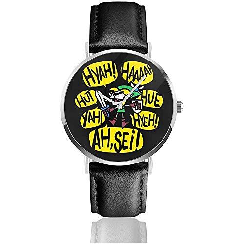 Unisex Business Casual Screaming Link Zeichnung Uhren Quarz Lederuhr