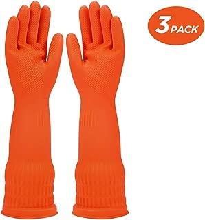 Rubber Dishwashing Glove Kitchen Cleaning Gloves 3-Pairs,Waterproof Reuseable. (Orange, Medium)