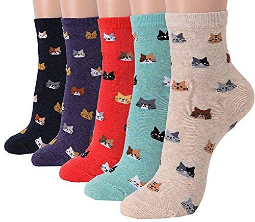 Damensocken mit Katzenmotiv, mit niedlichem Tiermotiv, Hund, Eule, lustiges Geschenk Gr. One size, Animal - Friends Cats 5pcs