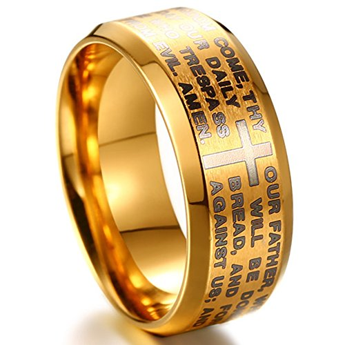 Jude Jewelers Stainless Steel Christian The Lord's Prayer Ring, Matthew 6:9-13 (Gold, 7)