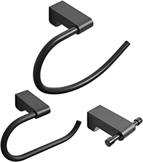 BESy Black 3 Piece Bathroom Accessories Set (Towel Ring, Toilet Paper Holder, Double Towel Hooks), Wall Mounted Bath Hardware Accessory Fixtures Set,Matte Black