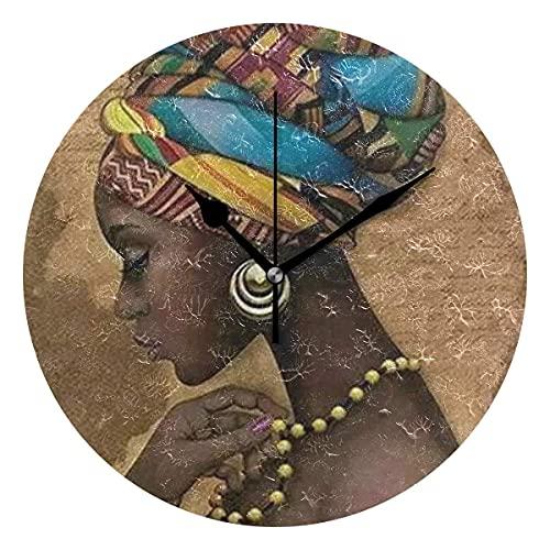 Reloj de pared redondo decorativo con textura de mujer noble africana para niños, sala de estar, dormitorio, cocina, escuela, oficina, decoración