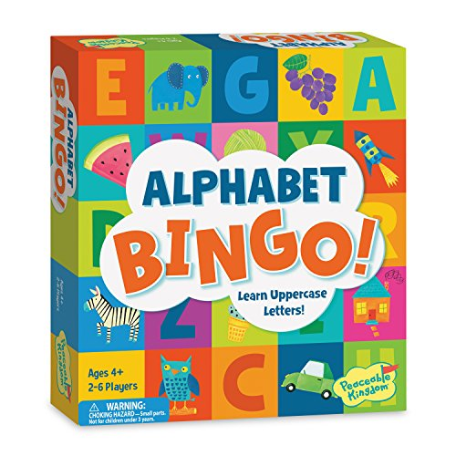 Peaceable Kingdom Alphabet Bingo! Letter Learning Board Game for Kids