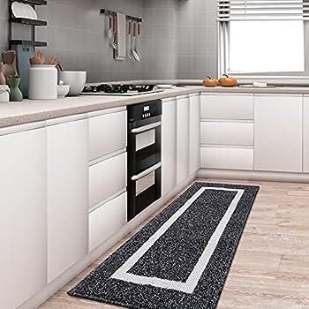 Premium Durable Kitchen Rug Mat Kitchen Floor Mat 20 x 47  Non-Slip Absorbent Runner Rug Mat for Kitchen Floor Entryway Hallway and Dining Room Machine Washable Carpet Black Rectangle