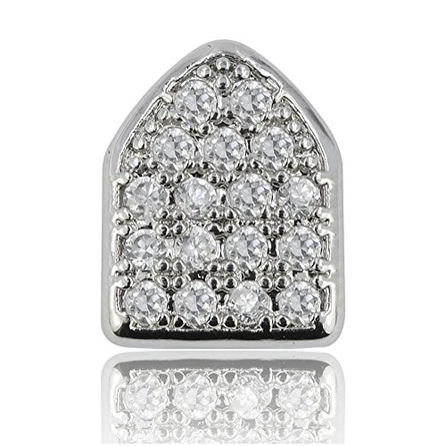 JINAO 18k White Gold Plated Single Tooth Hip Hop Bling Cap Canine Teeth CZ Iced-Out Grillz (Silver)