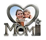 Exporee Mom I Love You Marco de Fotos, Forma de Corazón Metal Marco de Decoración de Escritorio, Regalo para el Día de la Madre o Cumpleaños