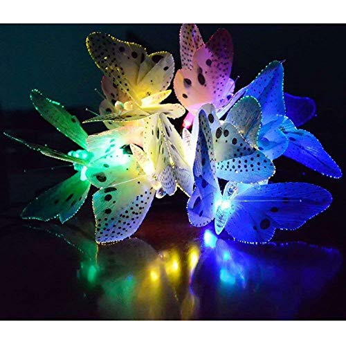 Solar String Lights Solar Lights Garden 1 Pieces Led Solar String Light Multi Color Butterfly Fairy Lights Waterproof Outdoor Light Home Garden Patio Lawn Party Decor Lighting [Energy Class A+]