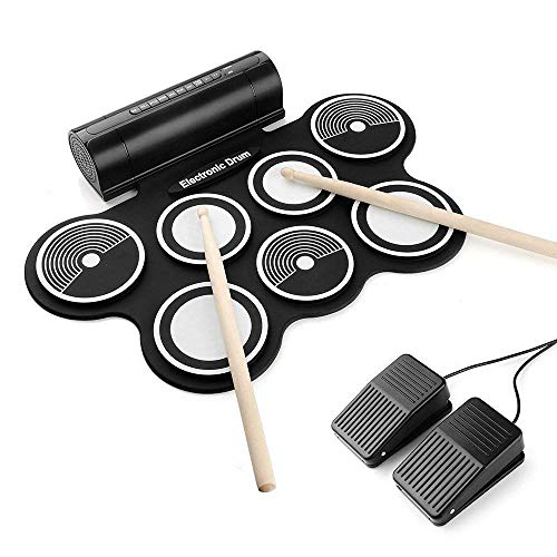 Portable Electronic Drum Kit, OLEY Digital Foldable Roll-Up Drum Pad Set...