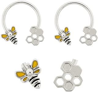 Pair of Bee & Honeycomb Bumble bee Horseshoe Ring Lip, Belly, Nipple, Septum, Earring Hoop 14g