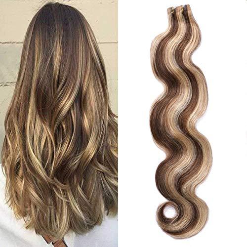 Myfashionhair Extension Capelli Veri Adesive Strawberry Blonde to Medium Brown Highlighted 20pcs Set 60g Body Wave Wavy Skin Weft Remy Human Hair(55cm, 4-27-bw)