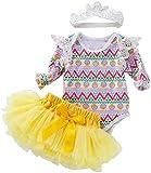 Aeromdale Conjunto de 3 piezas de ropa de Pascua para bebé y niñas de manga larga con volantes, diseño de huevo de Pascua