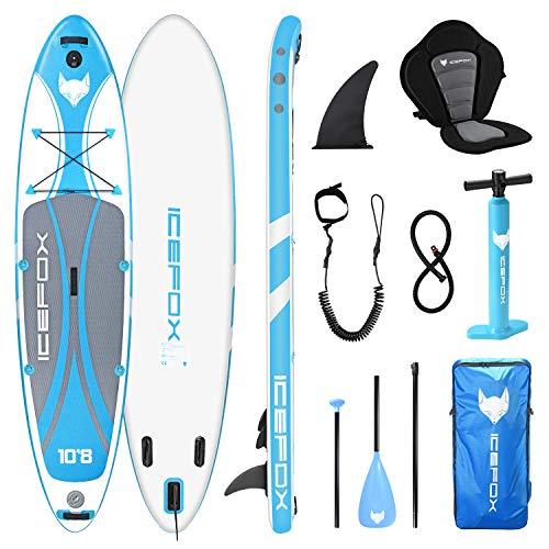 Icefox SUP Board Set, aufblasbares Surfboard, Stand Up Paddle Board, 6 Zoll dick für alle Schwierigkeitsgrade mit Aluminiumpaddel, Kajaksitz und komplettem Zubehör