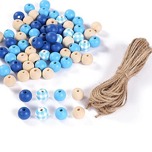 Oce180anYLVUK Cuentas Artesanales Naturales Redondas Sin Terminar Cuentas De Madera Llamativas para Artesanía 1 Juego Azul