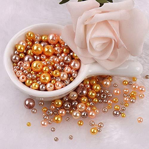 tggh Cuentas de diferentes tamaños con agujero, perlas de imitación de acrílico redondas para hacer manualidades (color: mezcla de oro caqui, tamaño: mezcla de 3 a 8 mm, 10 gramos)