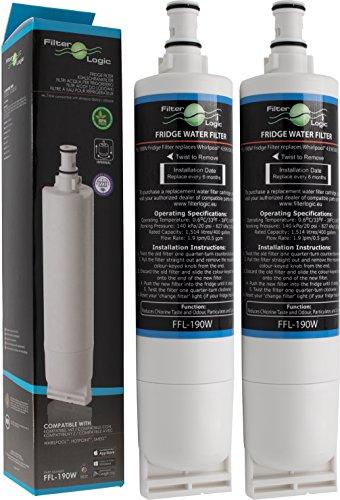 FilterLogic FFL-190W | 2er Pack - Wasserfilter kompatibel mit Bauknecht SBS103, 484000008723 - SBS003, 481281719155 / Whirlpool SBS200, 484000008726 - SBS002 Filter, Kühlschrank Wasserfilterpatrone
