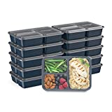 Bentgo Prep 3-Compartment Meal-Prep Containers with Custom-Fit Lids - Microwaveable, Durable, Reusable, BPA-Free, Freezer and Dishwasher Safe Food Storage Containers - 10 Trays & 10 Lids (Navy Blue)