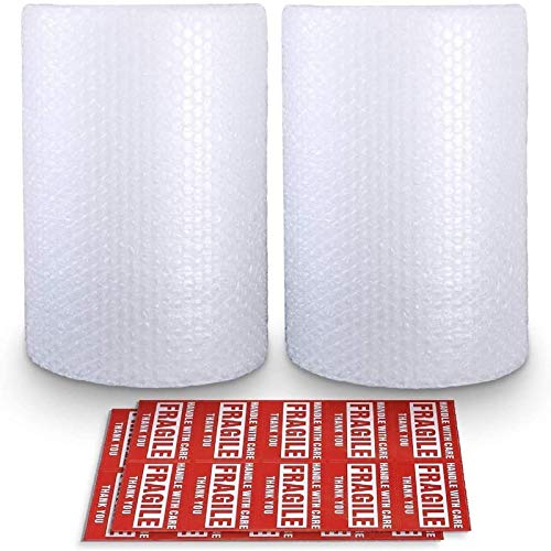 """2-Pack Bubble Cushioning Wrap Rolls, 3/16"""" Air Bubble, 12 Inch x 72 Feet Total, Perforated Every 12"""", 20 Fragile Stickers Included"""