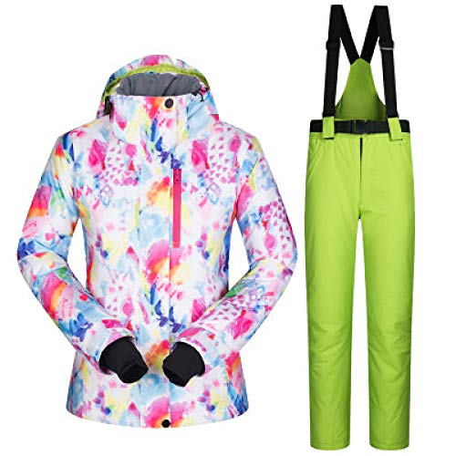MEOBHI Skipak voor dames, waterdicht, ademend, warme ski-jack en sneeuwbroek, winter-snowboard-pak, dames-winterjas