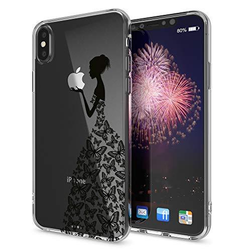 NALIA Cover compatibile con iPhone X XS, Custodia Protezione Silicone Trasparente Sottile Case, Gomma Morbido Cellulare Slim Protettiva Bumper Guscio, Designs:Princess Nero