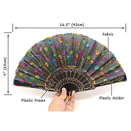 FSWYHRFD Faltbare Handfächer Bulk Für Frauen Vintage Retro Fabric Fans Für Weddi