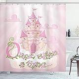 ABAKUHAUS Es war einmal Duschvorhang, Prinzessin Schloss, mit 12 Ringe Set Wasserdicht Stielvoll Modern Farbfest & Schimmel Resistent, 175x180 cm, Creme Grün Puder Rosa