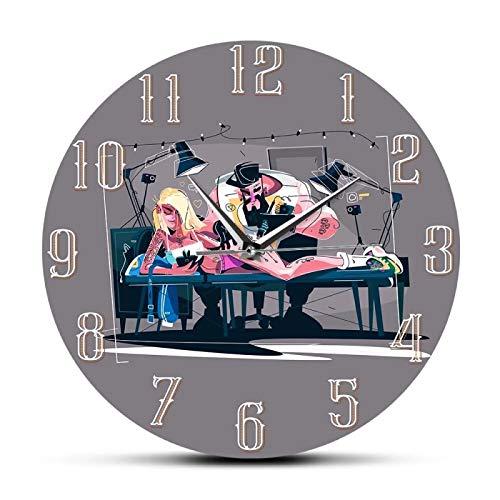 gongyu Máquina Maestra de Tatuajes, Letrero Profesional, Reloj de Pared de diseño Moderno, Reloj de Pared silencioso para el Estudio de Tatuajes de la Vieja Escuela, Regalos para tatuadores