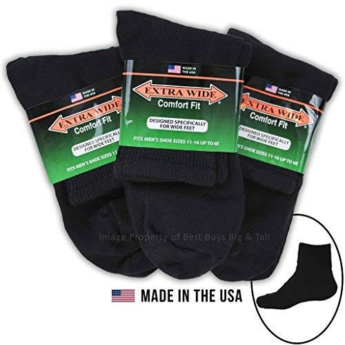 Big & Tall Men's Extra Wide Socks Athletic Quarter Size 11-16 BLACK 3-Pack #1210B