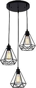 Industrial Vintage Retro Lámpara de techo,Metal cage Lámpara colgante Comedor Lámpara colgante E27 3-Lights